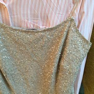 Ann Taylor NWT Silk Top Gray Metallic Threads 8